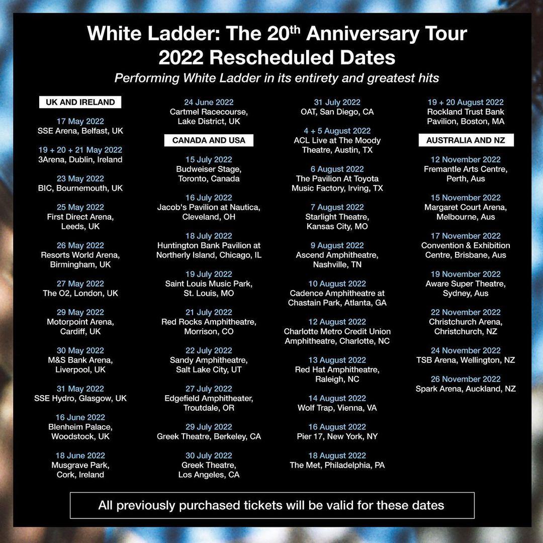 Nc Court Calendar 2022.David Gray White Ladder Tour Concert Dates Events Discotech