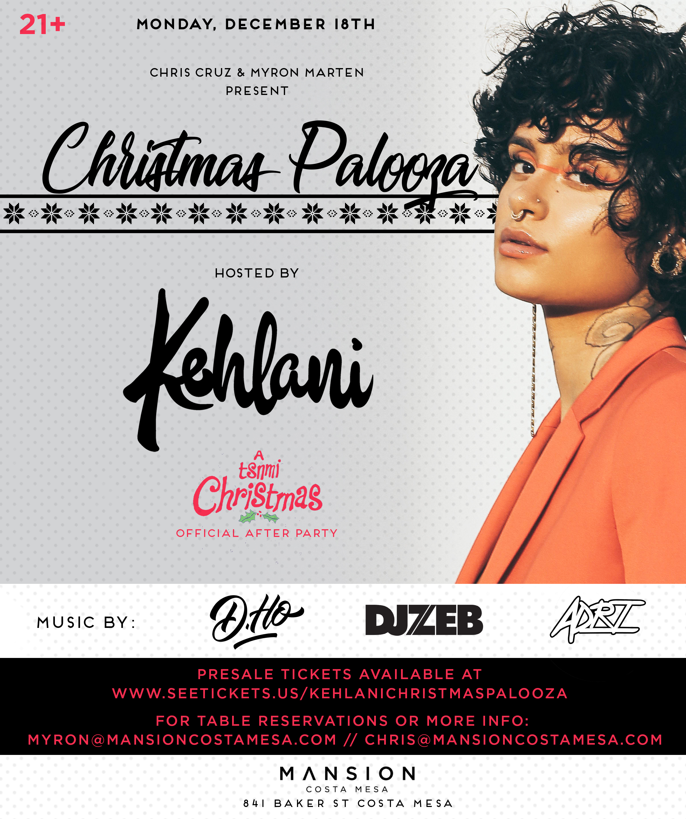 Kehlani at Mansion - Monday, Dec 18 - Guestlist, Tickets, and Bottle ...