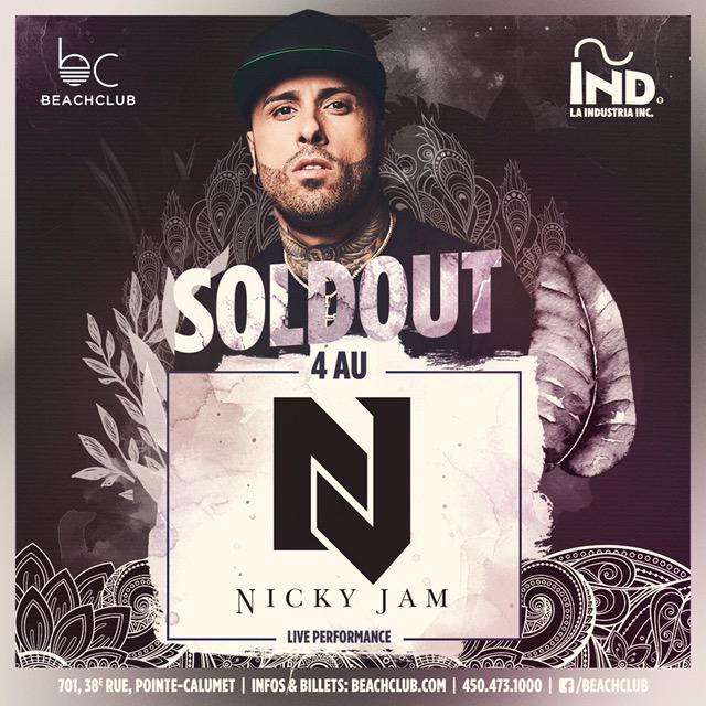 Nicky Jam (Sold Out) at Beachclub - Saturday, Aug 4 - Guestlist, Tickets, and Bottle Service   Discotech