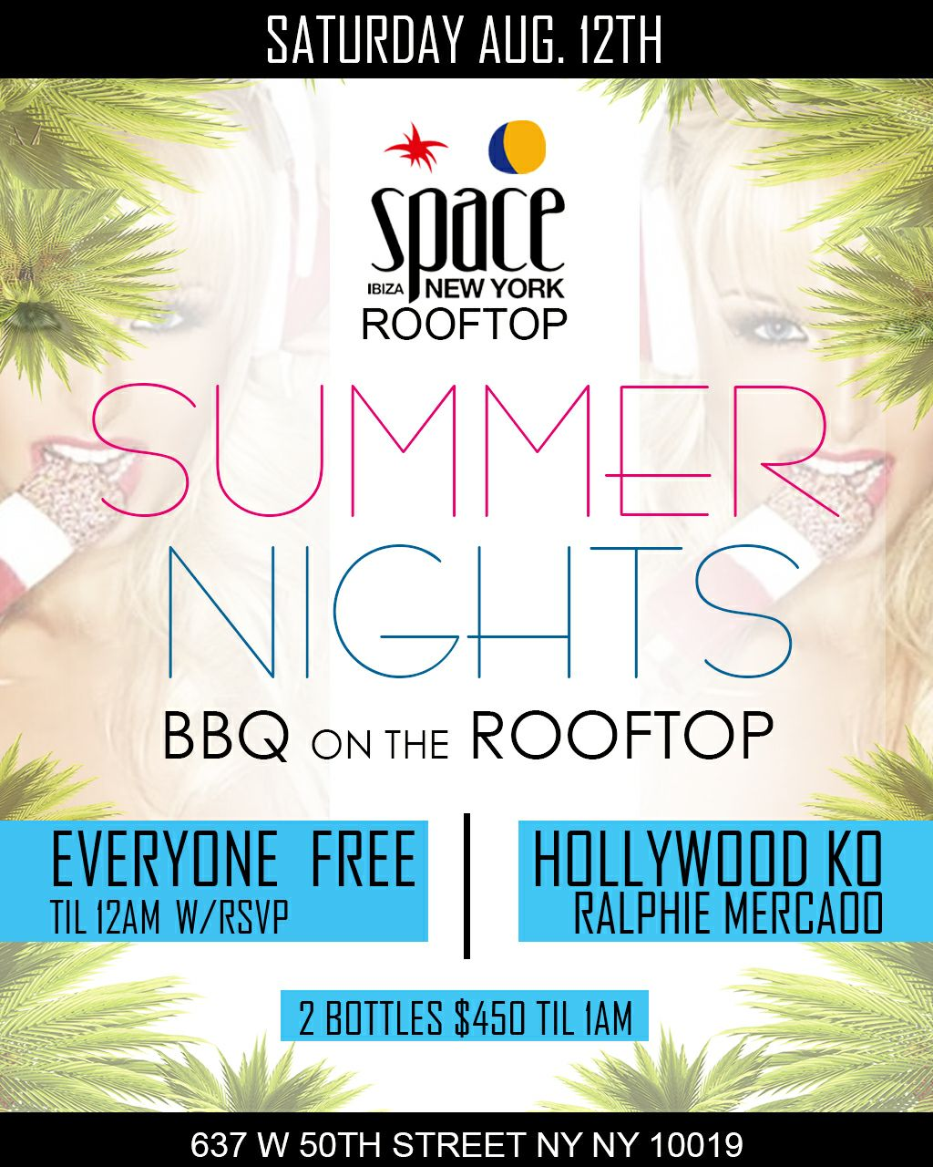 SPACE Summer Rooftop Hip-Hop Party No Cover w/ A C  Pass List at