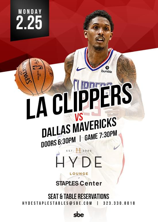La Clippers Vs Dallas Mavericks At Hyde Lounge Staples