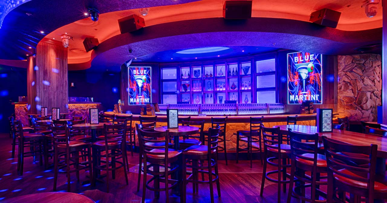 Inside look of Blue Martini with bottle service