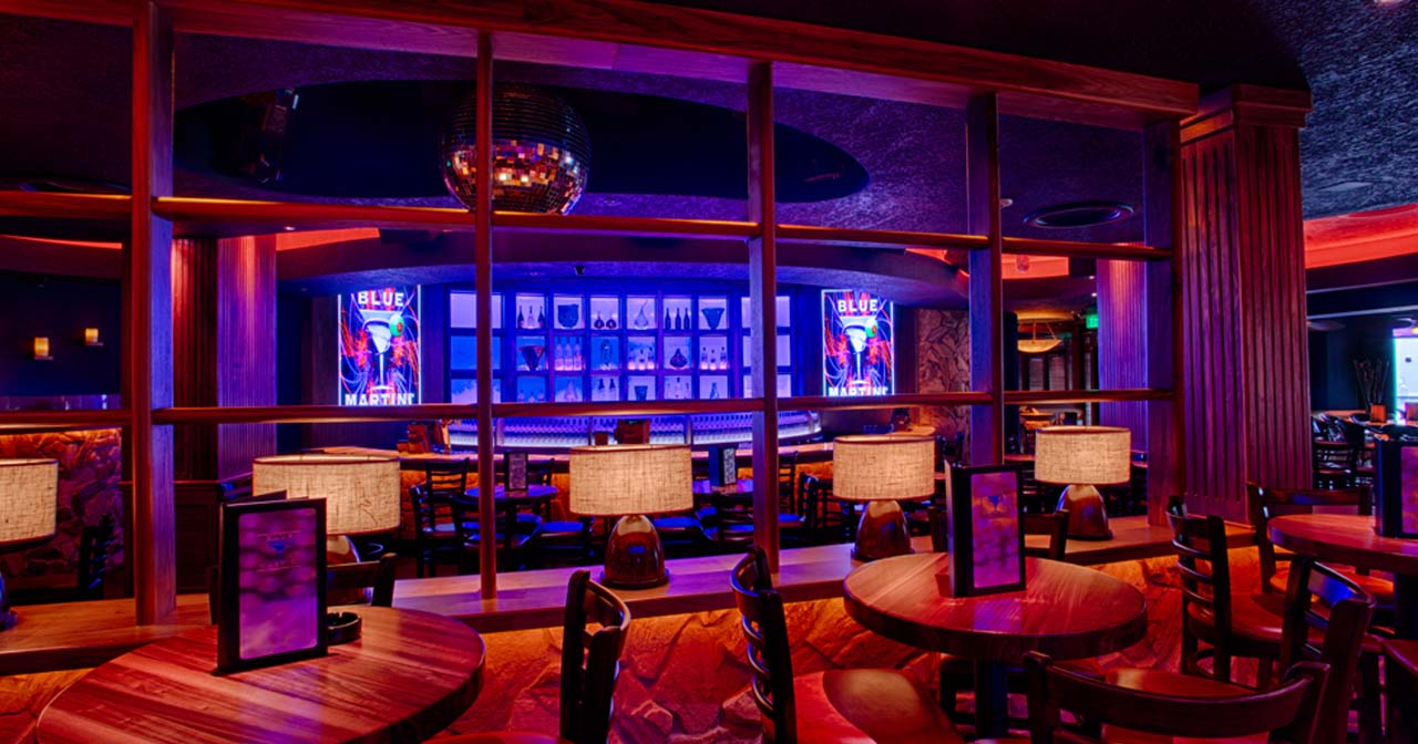 View of the interior of Blue Martini