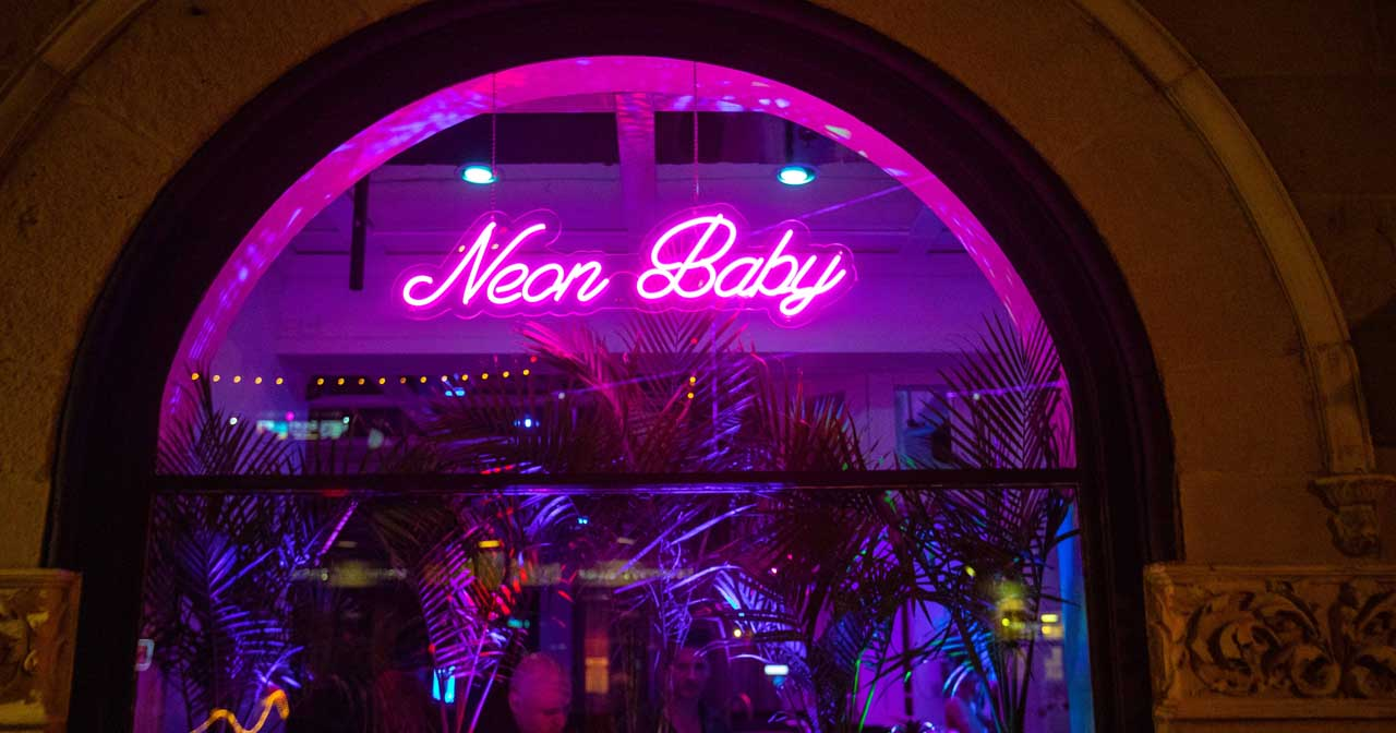 View of the interior of Neon Baby after buying tickets