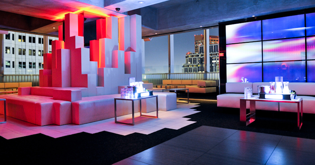 Inside look of Elevate Lounge with bottle service