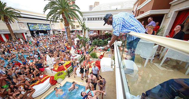 View of the interior of Encore Beach Club after buying tickets