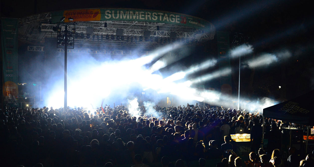 Inside look of Summerstage with bottle service