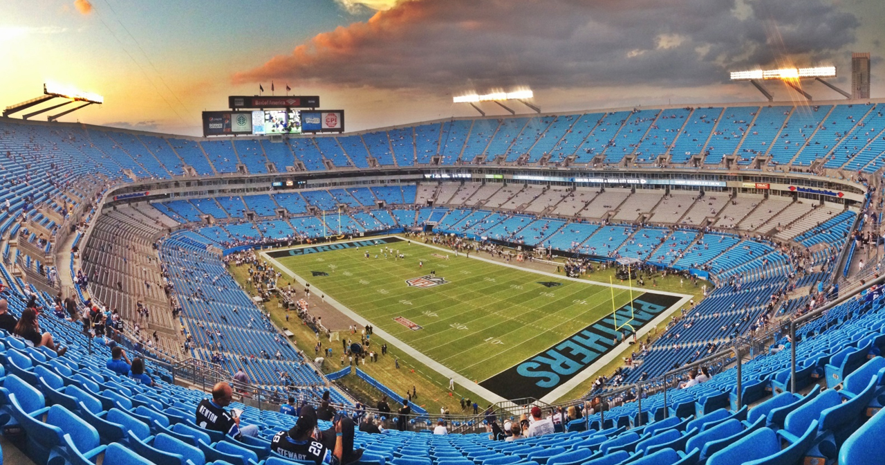 View of the interior of Bank of America Stadium after buying tickets