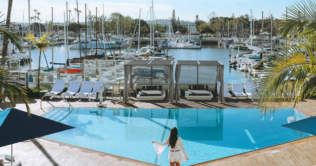 View of the interior of Marina Del Rey Hotel Pool after getting free guest list