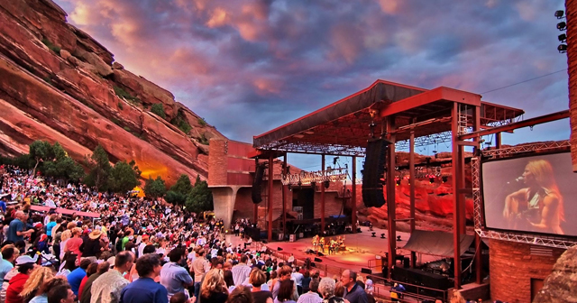 View of the interior of Red Rocks Amphitheatre after getting free guest list