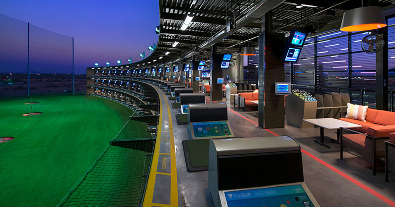 View of the interior of Topgolf after getting free guest list
