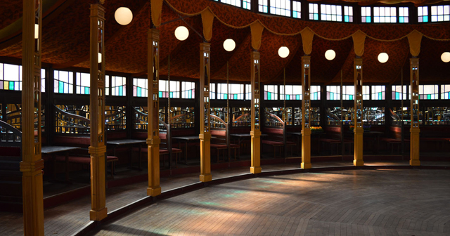 View of the interior of Avant Gardner (Lost Circus) after buying tickets