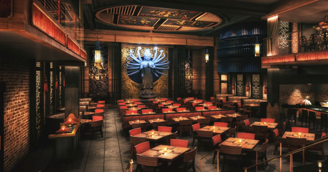 View of the interior of Tao after buying tickets