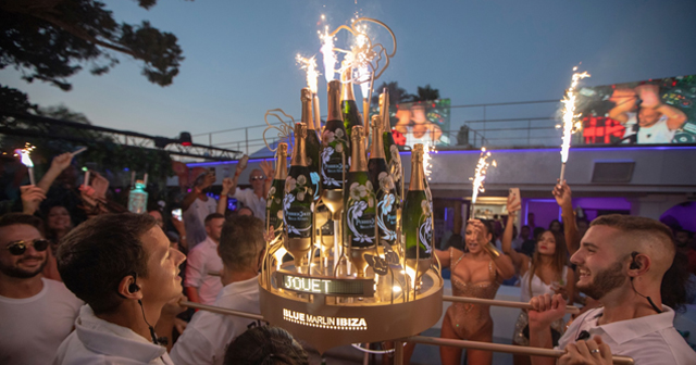 Inside look of Blue Marlin Ibiza with bottle service