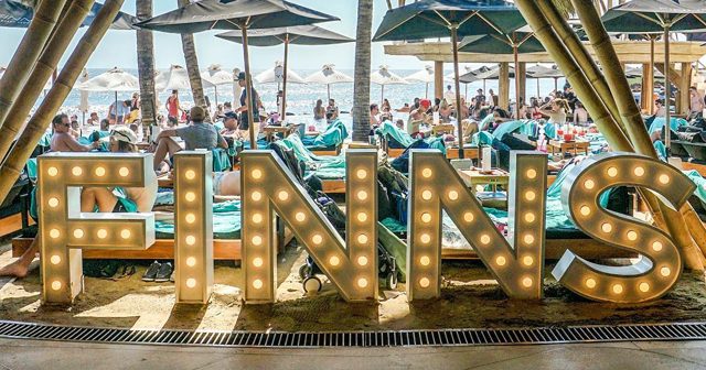 Inside look of Finns Beach Club with bottle service