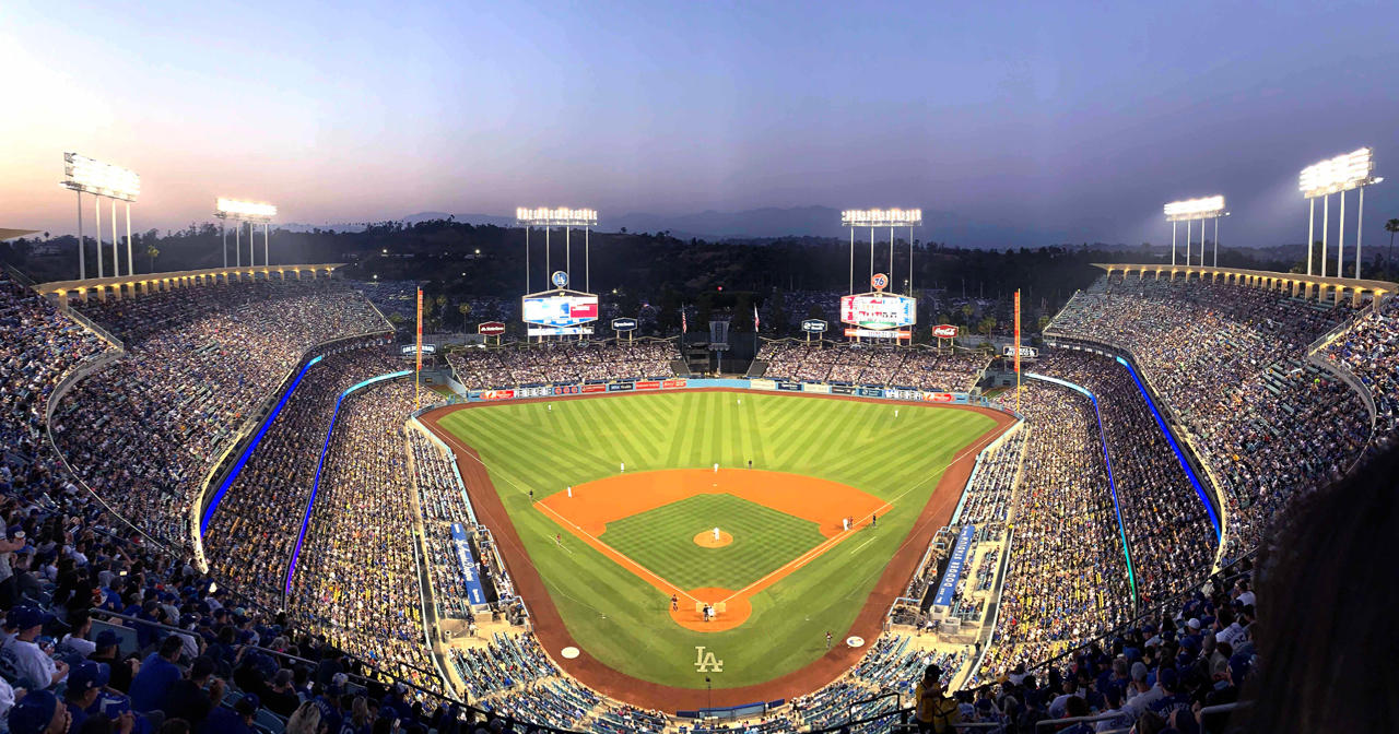 View of the interior of Dodger Stadium after buying tickets