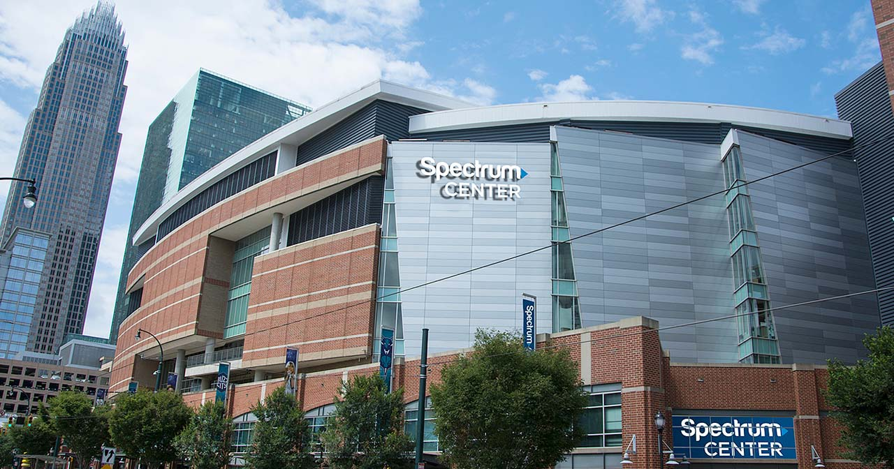 View of the interior of Spectrum Center after buying tickets