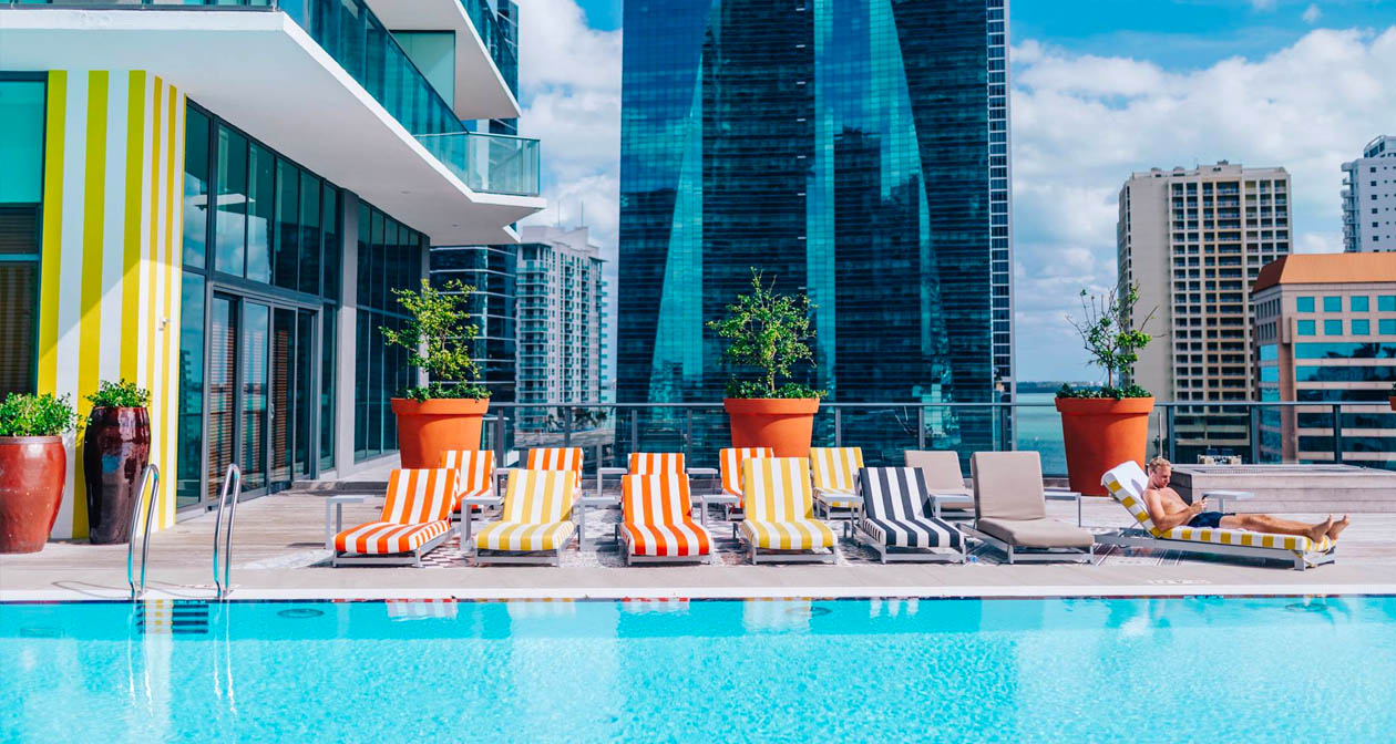 View of the interior of Altitude Pool at SLS Brickell after getting free guest list