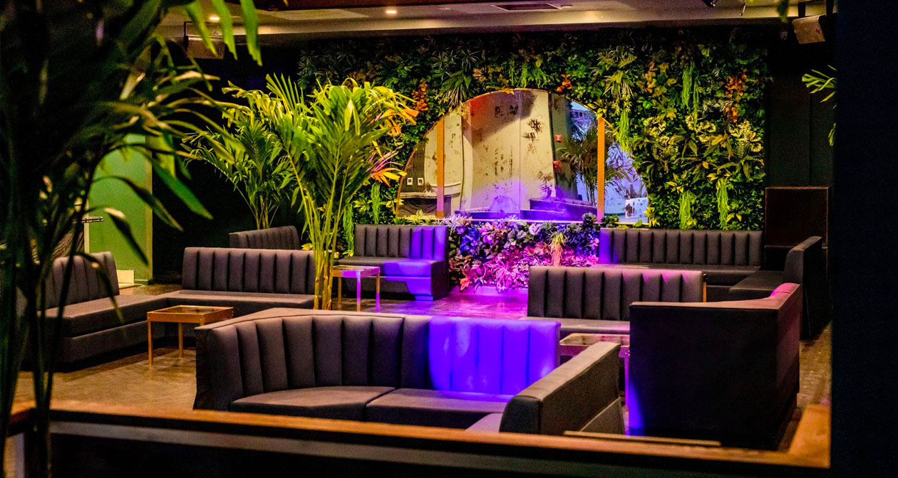 Inside look of Harbor Rooftop Lounge with bottle service