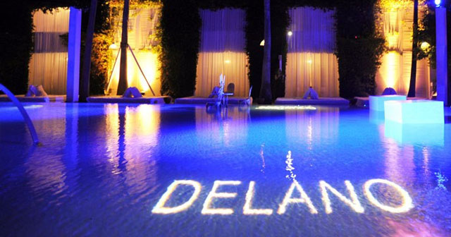 View of the interior of Delano Beach Club at Night after buying tickets
